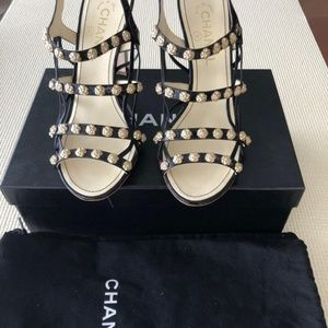 Chanel CC Black Patent Cage Gold Camellia Sandals